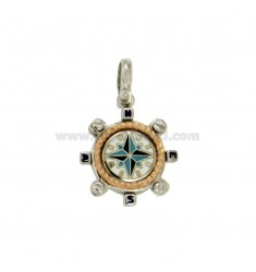 Pendant RUDDER 17 MM SILVER RHODIUM PLATED GOLD AND ROSE TIT 925 ‰ WITH WIND ROSE SMALTATA ASSORTED COLORS