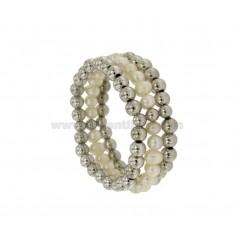 Brazalete de la pulsera de 3 alambres con BOLAS y perlas naturales plata del rodio TIT 925