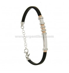 BRACELET RUBBER &39WITH PLATE 6 MM SATIN SILVER RHODIUM TIT 925 ‰ ELEMENTS WITH ROSE GOLD PLATED CM 18.21