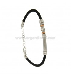 BRACELET RUBBER &39WITH PLATE TUBE SATIN POLISHED SILVER RHODIUM TIT 925 ‰ ELEMENTS WITH ROSE GOLD PLATED CM 18.21