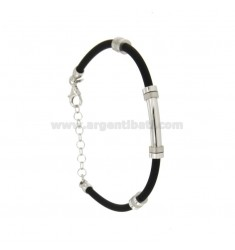 BRACELET RUBBER &39WITH PLATE TUBE SATIN POLISHED SILVER RHODIUM TIT 925 ‰ CM 18.21