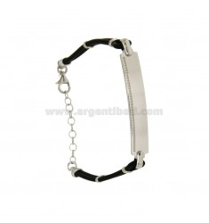 BRACELET RUBBER &39PLATE WITH 7 MM STITCHED SILVER RHODIUM TIT 925 ‰ CM 18.22