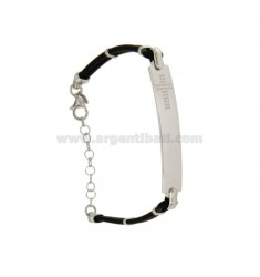 BRACELET RUBBER &39WITH 7 MM PLATE WITH CROSS ENGRAVED SILVER RHODIUM TIT 925 ‰ CM 18.21
