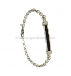 BRACELET VENETIAN STRETCHED PLATE WITH 5 MM WITH RUBBER &39SILVER RHODIUM TIT 925 ‰ CM 21