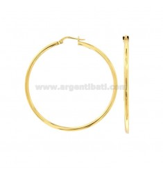 EARRINGS A CIRCUM 44 MM A ROUND ROD 2 MM IN SILVER GOLD TIT 925 ‰