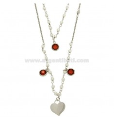 COLLANA ROLO' 2 FILI DEGRADE' CM 40-60 IN ARGENTO RODIATO TIT 925‰ CON PERLINE ZIRCONI ROSSI E CUORE PENDENTE MM 12