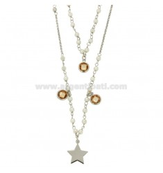 COLLANA ROLO' 2 FILI DEGRADE' CM 40-60 IN ARGENTO RODIATO TIT 925‰ CON PERLINE ZIRCONI CHAMPAGNE E STELLA PENDENTE MM 12