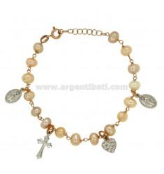 PULSERA con los colgantes de perlas de plata rodio y COBRE TIT 925 ‰ 18 CM