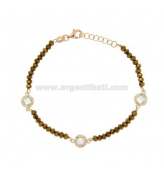 BRACELET CABLE, WASHERS STONE faceted BRONZE AND WHITE ZIRCONIA SILVER COPPER TIT 925 ‰ CM 18.20