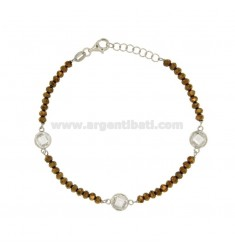 BRACELET CABLE, WASHERS STONE faceted BRONZE AND WHITE ZIRCONIA SILVER RHODIUM TIT 925 ‰ CM 18.20