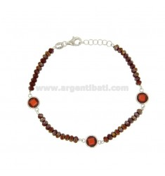BRACELET CABLE, WASHERS RED STONE AND ZIRCONIA faceted RED SILVER COPPER TIT 925 ‰ CM 18.20