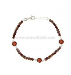 BRACELET CABLE, WASHERS RED STONE und Zirkoniumdioxid facettierten RED Silber.Kupfer.TIT 925 ‰ 18.20 CM