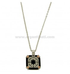 PENDANT SQUARE MM 18X18 WITH CENTRAL AND CHAIN RUDDER CABLE CM 45.50 STEEL TWO TONE PLATED RHODIUM AND RUTHENIUM