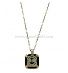 PENDANT SQUARE MM 18X18 STILL WITH CENTRAL AND CHAIN CABLE CM 45.50 STEEL TWO TONE PLATED RHODIUM AND RUTHENIUM
