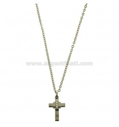 CROSS PENDANT MM 24X12 WITH ZIRCONIA WHITE AND CHAIN CABLE CM 45.50 STEEL