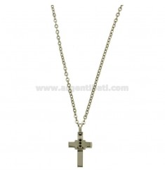 CROSS PENDANT MM 24X12 WITH ZIRCONIA BLACKS AND CHAIN CABLE CM 45.50 STEEL TWO TONE PLATED RHODIUM AND ROSE GOLD