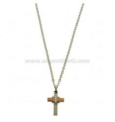 CROSS PENDANT MM 24x12 mit Zirkonia WEISS UND CHAIN CABLE CM 45.50 STEEL ZWEI TON rhodiniert UND ROSE GOLD