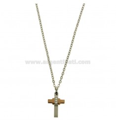 CROSS PENDANT MM 24X12 WITH ZIRCONIA WHITE AND CHAIN CABLE CM 45.50 STEEL TWO TONE PLATED RHODIUM AND ROSE GOLD