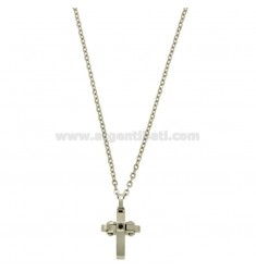 CROSS PENDANT MM 24X12 WITH ZIRCONIA BLACKS AND CHAIN CABLE CM 45.50 STEEL