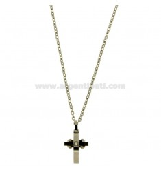 CROSS PENDANT WITH ZIRCON 24X12 MM BLACK AND CHAIN CABLE CM 45.50 STEEL TWO TONE PLATED RHODIUM AND RUTHENIUM