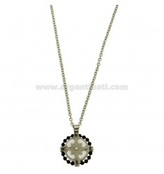 PENDANT 18 MM ROUND WITH ROSE OF THE WINDS IN STEEL POLISH AND ZIRCONE CHAIN CABLE 50 CM