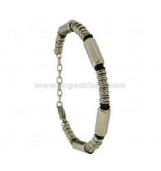 BRACELET MULTI RINGS STEEL WITH ELEMENTS CLAD RUTENIO
