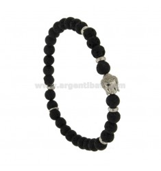 LAVA STONE SPHERES BRACELET 7 MM WITH BUDDHA IN CENTRAL SILVER RHODIUM TIT 925 ‰ FIT MAN