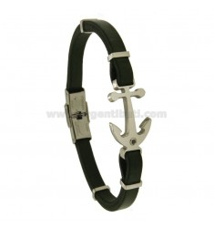 BRACELET IN LEATHER WITH AGAIN AND ZIRCON STEEL