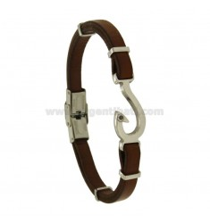 BRACELET IN LEATHER WITH LOVE AND ZIRCON STEEL