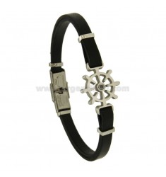 BRACELET WITH LEATHER STEERING AND ZIRCON STEEL