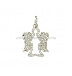 Encanto del ángel 23x18 MM plata del rodio TIT 925 ‰ y circonio