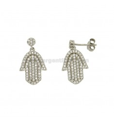EARRINGS HAND OF FATIMA MM 20x10 SILVER RHODIUM TIT 925 ‰ AND ZIRCONIA
