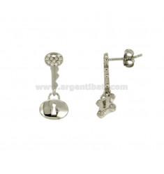 EARRINGS WITH BOLT MM KEY 21X9 SILVER RHODIUM TIT 925 ‰ AND ZIRCONIA
