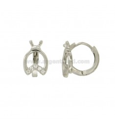 EARRINGS A CIRCLE WITH LADYBIRD DIAMETER 13 MM SILVER RHODIUM TIT 925 ‰ AND ZIRCONIA