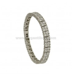 BRACCIALE TENNIS A DUE FILI MM 7 IN ARGENTO RODIATO TIT 925‰ E ZIRCONI CM 18