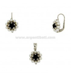 NECKLACE AND EARRINGS WITH ROUND ZIRCON BEADS AND BLACK SILVER RHODIUM TIT 925 ‰