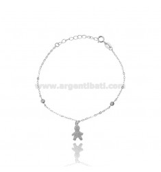 CABLE BRACELET WITH BOY PENDANT SILVER RHODIUM TIT 925 ‰ AND ZIRCONIA CM 16.19