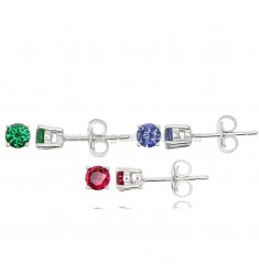 KIT 3 PAIRS OF LIGHT POINT EARRINGS WITH ZIRCON 4 MM GREEN, RED AND PURPLE IN 925 ‰ RHODIUM-PLATED SILVER