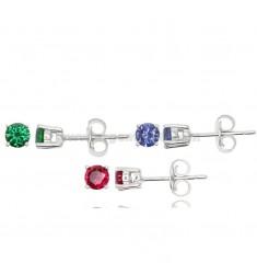 KIT 3 pares de los pendientes con la luz del punto 4 MM Zircone verde, rojo y plata púrpura RODIO 925 ‰