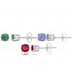 KIT 3 PAIRS OF LIGHT POINT EARRINGS WITH ZIRCON 5 MM GREEN, RED AND PURPLE IN 925 ‰ RHODIUM-PLATED SILVER