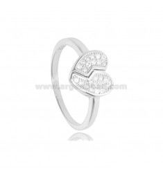 BROKEN HEART RING IN RHODIUM-PLATED SILVER TIT 925 ‰ AND ZIRCONS SIZE 16