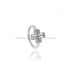 CROSS RING IN RHODIUM-PLATED SILVER TIT 925 ‰ AND ZIRCONS SIZE 12