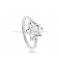 STAR RING WITH HEART IN RHODIUM-PLATED SILVER TIT 925 ‰ AND ZIRCONS SIZE 14