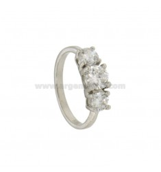 TRILOGY RING IN SILVER RHODIUM TIT 925 ‰ WITH ZIRCONIA MM 5.6.5 MEASURE 18