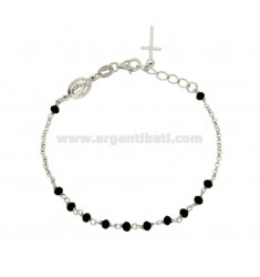 ROLO ROSARY BRACELET WITH STONE FACETED SPHERES 3.5 MM SILVER RHODIUM TIT 925 ‰ CM 20
