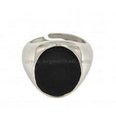 OVAL RING 20x17 MM MIT ONYX Silber rhodiniert TIT 925 ‰ mit veränderbarer Länge