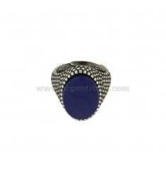 OVAL RING 17x11 MM WITH MICRO SILVER BRUNITO TIT 925 ‰ AND LAPIS MEASURE ADJUSTABLE MIGNOLO
