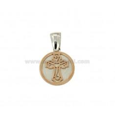 PENDANT 15 MM RUND mit Kreuz in Silber und Kupfer TIT 925 RHODIUM