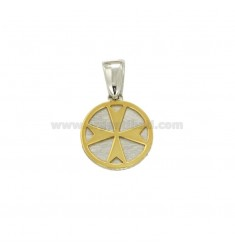 PENDANT 15 MM ROUND WITH CROSS OR AMALFI IN MALTA AND SILVER RHODIUM TIT 925