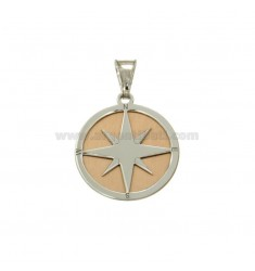 PENDANT 20 MM ROUND WITH WIND ROSE RHODIUM SILVER AND COPPER TIT 925